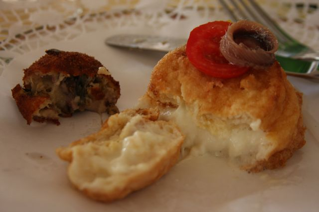 "Fried mozzarella with anchovy and tomato & Fried eggplant ""meatball"""
